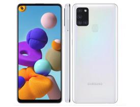 """Celular Samsung Galaxy A21s Branco 64GB, Câmera Quádrupla,Tela Infinita de 6.5"""", Leitor de Digital, 4GB RAM, Carregamento Rápido e Android 10"""