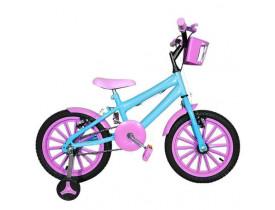 Bicicleta Infantil Aro 16 Azul Claro e Rosa