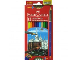 Lápis de Cor Faber Castell Sextavado com 12 Lápis Duo e Apontador
