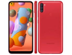 Celular Samsung Galaxy A11 64GB 4G Wi-Fi Tela 6.4'' Dual Chip 3GB RAM Câmera Tripla + Selfie 8MP - Vermelho