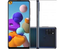 Celular Samsung Galaxy A21s 64GB 4G Wi-Fi Tela 6.5'' Dual Chip 3GB RAM Câmera Quádrupla + Selfie 13MP - Preto
