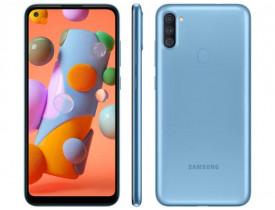 """Celular Samsung Galaxy A11 Azul 64GB, Câmera Tripla,Tela Infinita de 6.4"""", Leitor de Digital, Octa Core, 3GB RAM, Carregamento Rápido e Android 10"""