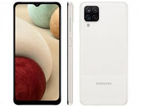 "Celular Samsung Galaxy A12 64GB Branco 4G - Octa-Core 4GB RAM 6,5"" Câm. Quádrupla + Selfie 8MP"