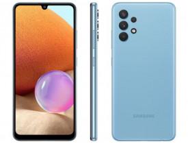 """Celular Samsung Galaxy A32 128GB Azul 4G - 4GB RAM Tela 6,4"""" Câm. Quádrupla + Selfie 20MP"""