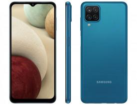 "Celular Samsung Galaxy A12 64GB Azul 4G - Octa-Core 4GB RAM 6,5"" Câm. Quádrupla + Selfie 8MP"