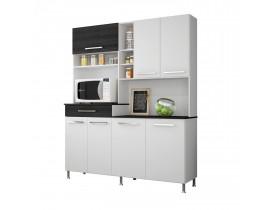 Armário Para Cozinha 7 Portas E Nichos Bruna Indekes Branco/Grafite