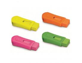 Apontador Faber-Castell Com depósito + Mix Borracha Neon
