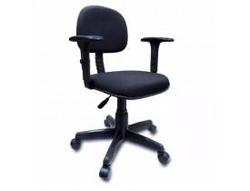 Cadeira Secretária Giratória Em JSerrano Preta Braço Digitador Com Regulagem