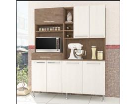Armário Para Cozinha 7 Portas E Nichos Bruna Indekes Noce/Salina