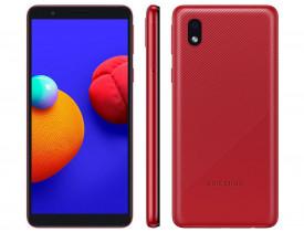 Celular Samsung Galaxy A01 Core 32GB Vermelho - Processador Quad-Core 2GB RAM Câm.8MP + Selfie 5MP