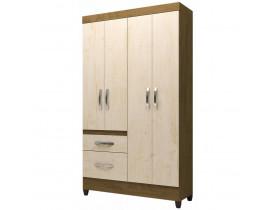 Guarda roupa solteiro 4 portas madri moval castanho wood/ avelã