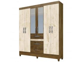Guarda roupa casal itatiba 6 portas castanho/avelã wood - moval