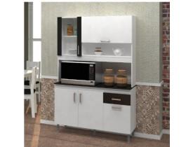 Kit Cozinha Letecia Indekes 5 Portas Branco/Preto