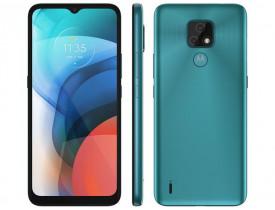 "Smartphone Motorola Moto E7 32GB Aquamarine - 4G Octa-Core 2GB RAM 6,5"" Câm. Dupla + Selfie 5MP"