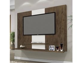 Painel Tv Ate 42 Polegadas Com Prateleiras Flex Color Don Cor Amêndoa Branco