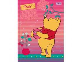 Caderno Brochura Pooh 96 Folhas  Tilibra  Rosa