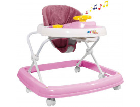 Andador Bebe 6 Rodas Regulavel Rosa